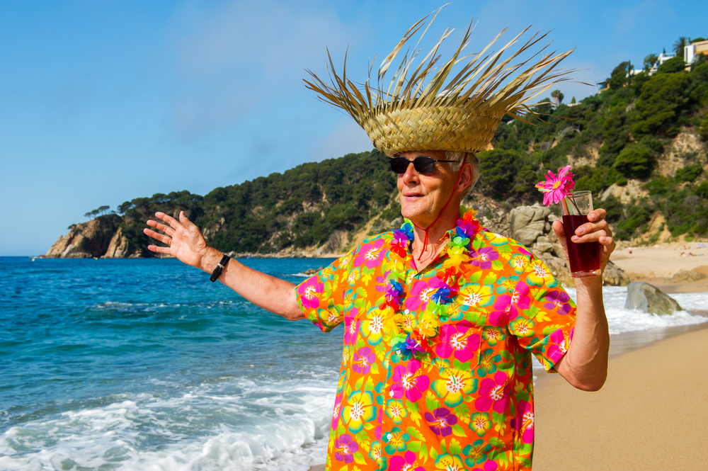 Festive Cruise Tourist in Bright Flower Shirt - Shore Excursions Group