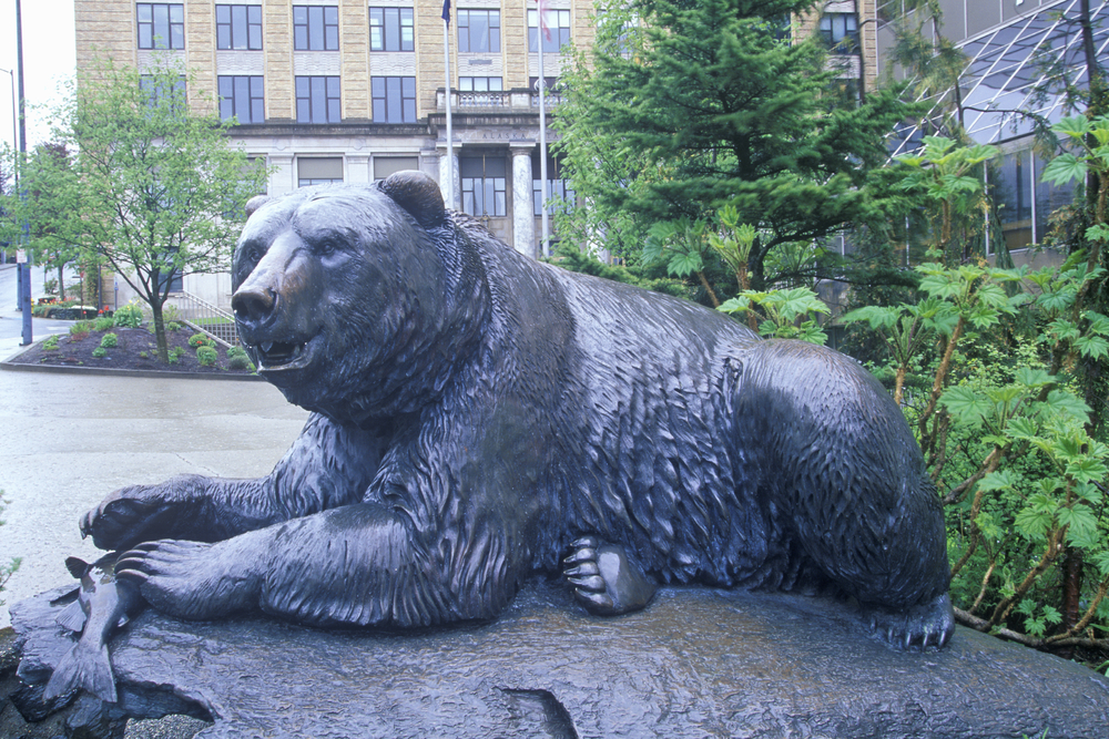Statue of a Brown Bear in Juneau, Alaska