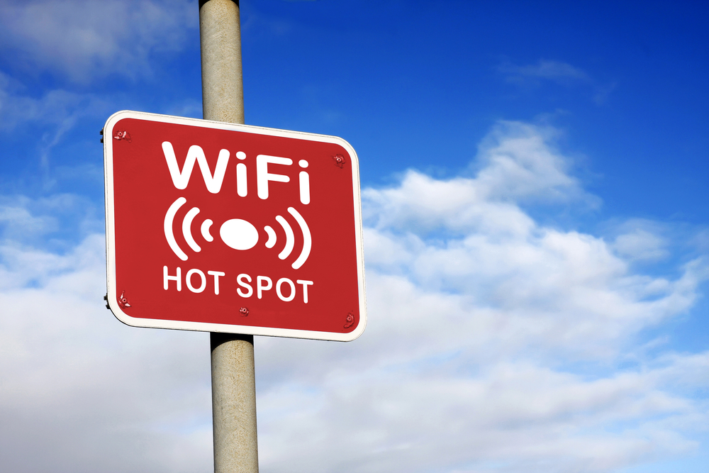 WiFi Hot Spot Sign on a Cruise Excursion in Nassau, Bahamas