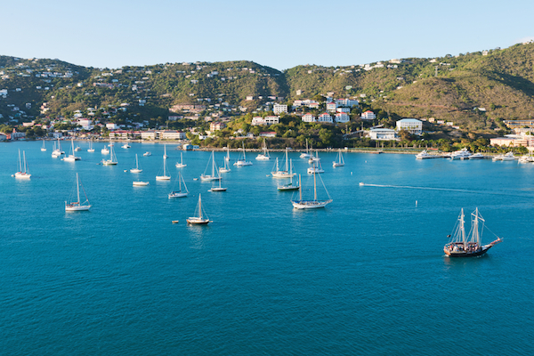 Sail Boats in St Thomas Bay - Caribbean Day Tour