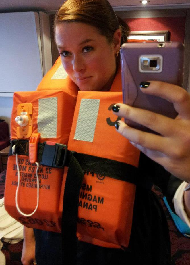 Lifejacket selfie aboard MSC Magnifica on cruise excursion