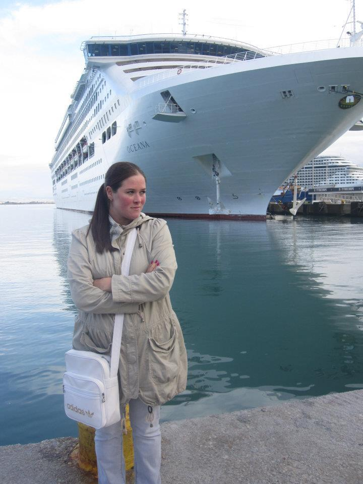 Standing in front of P&O Cruises, Oceana in Katakalon, Greece 2011