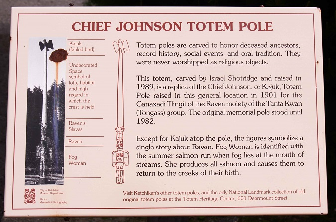 Chief Johnson Totem Pole Sign Ketchikan Excursion in Alaska
