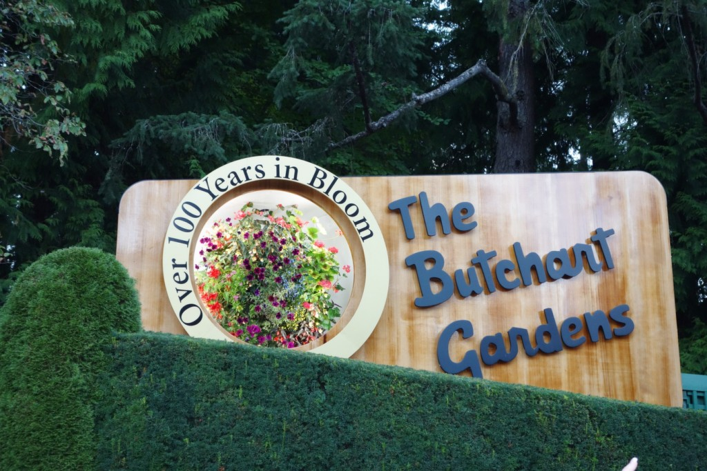 Butchart Gardens Sign in Victoria, BC - Shore Excursions Group